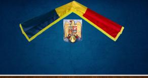 Ansamblu perete steag Romania si Stema Romaniei